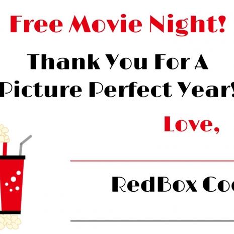 Redbox printable gift tag, redbox printable tag, redbox teacher gift