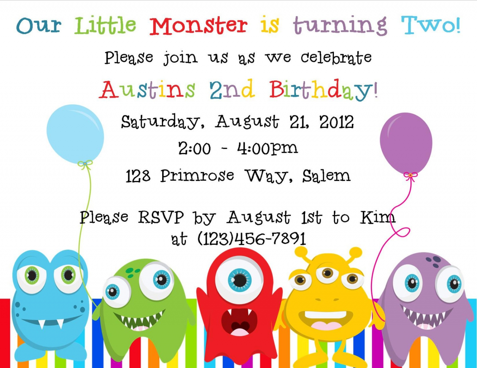 Amazing Little Monster Birthday Invitation Digital File ...