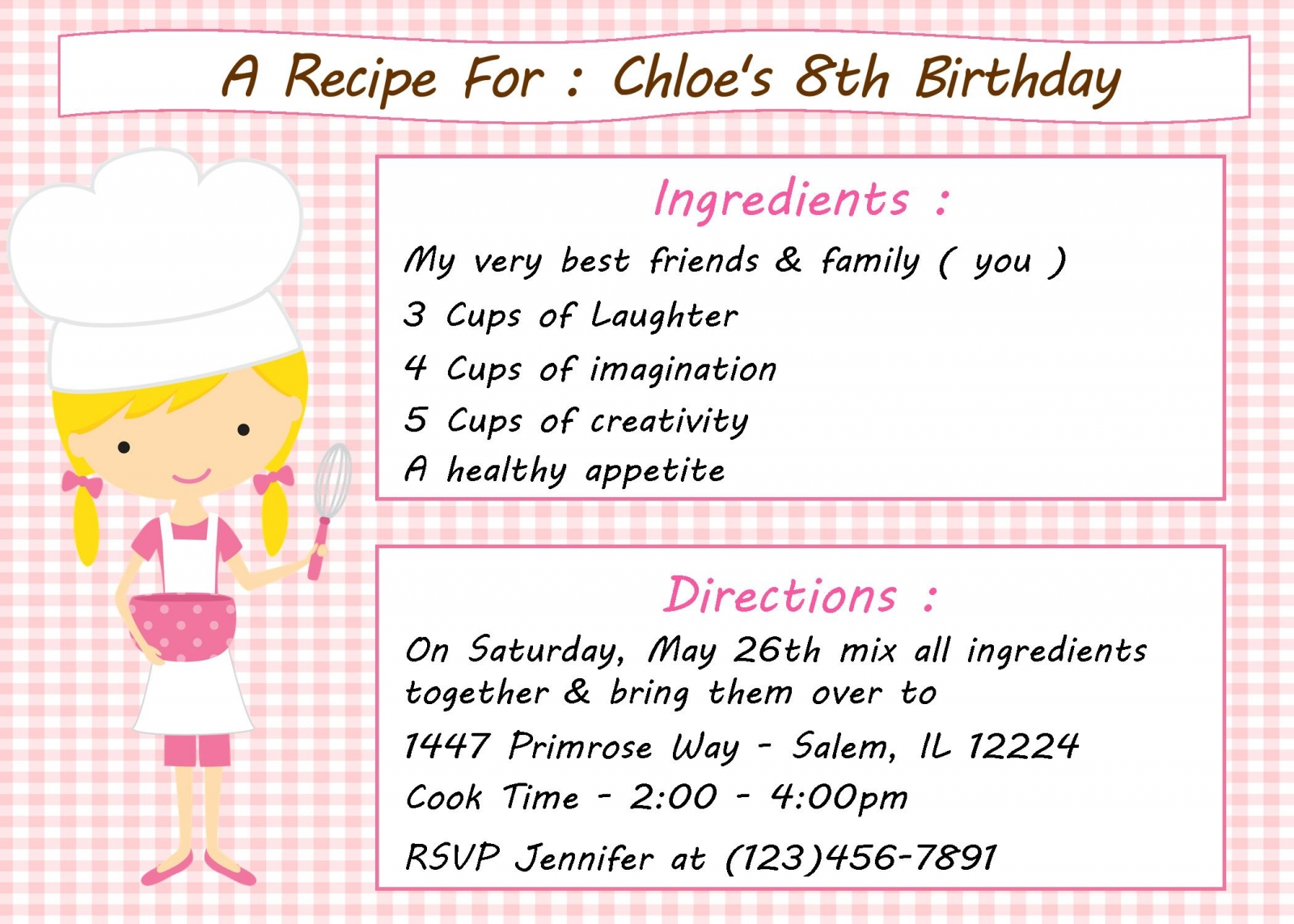 Cozy Kid39s Cooking Baking Birthday Party Invitation ...