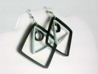 Modern Black and White Geometric Earrings   Sweethearts ...