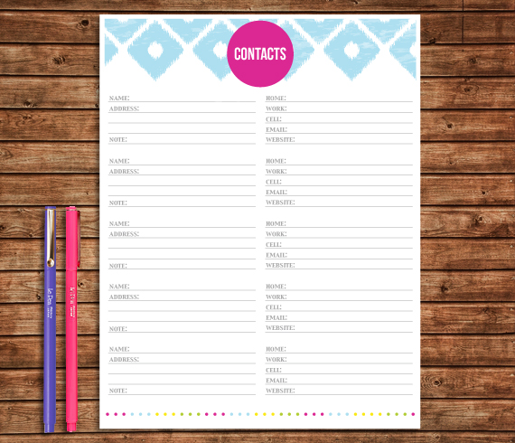 Contact list Printable - Sweet Paper Trail - printable contact list