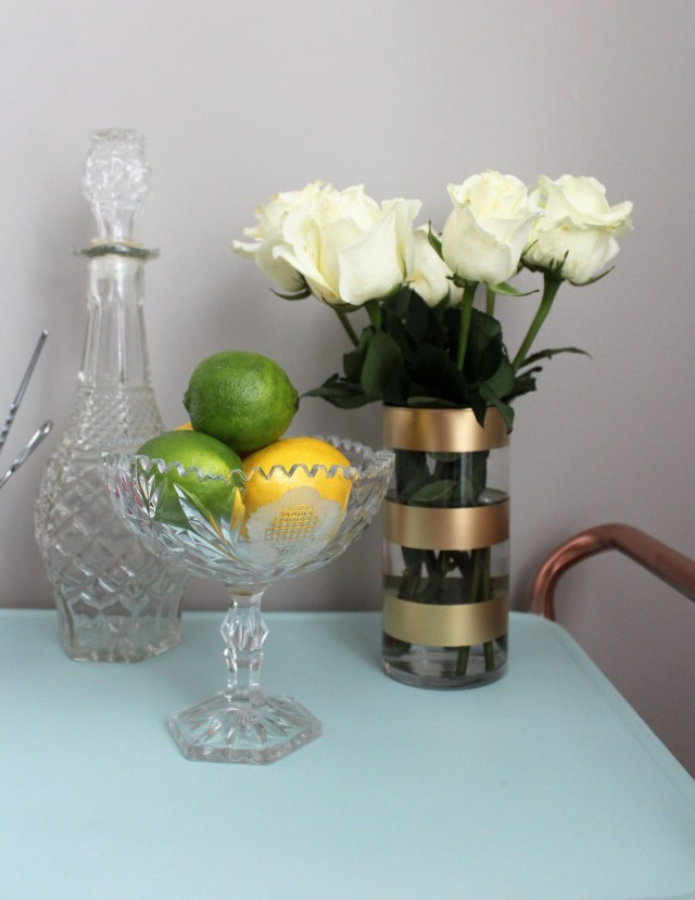 diy gold striped vase goodwill