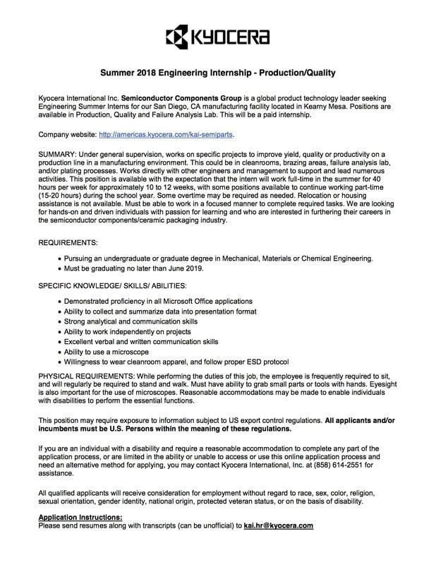 Society of Women Engineers SDSU - Internships/Jobs