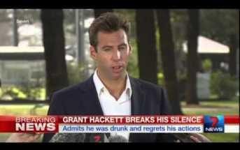 Grant Hackett faces media after 'nipple cripple' incident