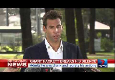 Grant Hackett faces media after 'nipple cripple' incident