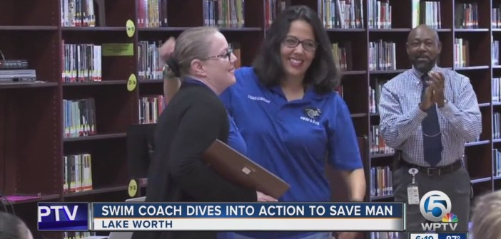 Swim coach dives into action to save man