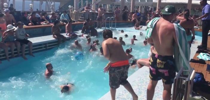 Norwegian Spirit cruise ship pool during rough seas