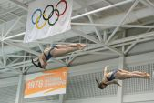 KNOXVILLE, TN - August 5, 2014: Synchro MaillardScribbick during the 2014 USA Diving Age Group and Junior National Event at Allan Jones Aquatic Center in Knoxville, TN. Photo By Matthew S. DeMaria