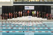 KNOXVILLE, TN - August 5, 2014: 3M Synchro Awards 14-18 Girls during the 2014 USA Diving Age Group and Junior National Event at Allan Jones Aquatic Center in Knoxville, TN. Photo By Matthew S. DeMaria