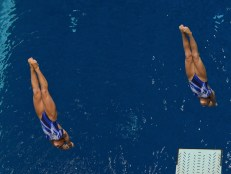 KNOXVILLE, TN - August 5, 2014: Synchro Sculti/Lenz during the 2014 USA Diving Age Group and Junior National Event at Allan Jones Aquatic Center in Knoxville, TN. Photo By Matthew S. DeMaria