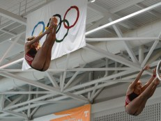 KNOXVILLE, TN - August 5, 2014: Synchro Witt/Farnsworth during the 2014 USA Diving Age Group and Junior National Event at Allan Jones Aquatic Center in Knoxville, TN. Photo By Matthew S. DeMaria