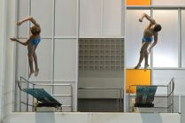 KNOXVILLE, TN - August 5, 2014: Synchro Decaprio/Sodokoff during the 2014 USA Diving Age Group and Junior National Event at Allan Jones Aquatic Center in Knoxville, TN. Photo By Matthew S. DeMaria