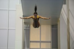 KNOXVILLE, TN - July 31, 2014: Alexa Cacao dives from the platforms during the 2014 USA Diving Age Group and Junior National Event at Allan Jones Aquatic Center in Knoxville, TN. Photo By Matthew S. DeMaria
