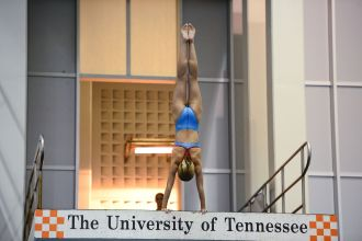 KNOXVILLE, TN - July 31, 2014: Lucy Roberts dives from the platforms during the 2014 USA Diving Age Group and Junior National Event at Allan Jones Aquatic Center in Knoxville, TN. Photo By Matthew S. DeMaria