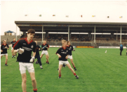 Enda Murtagh, Fintan Kenny, Eoghan Gallagher, Peter Durkan and Dermot Walsh warming up with Billy McNicholas