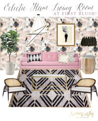 Eclectic Boho Glam Living Room in Blush, Black and Gold ...