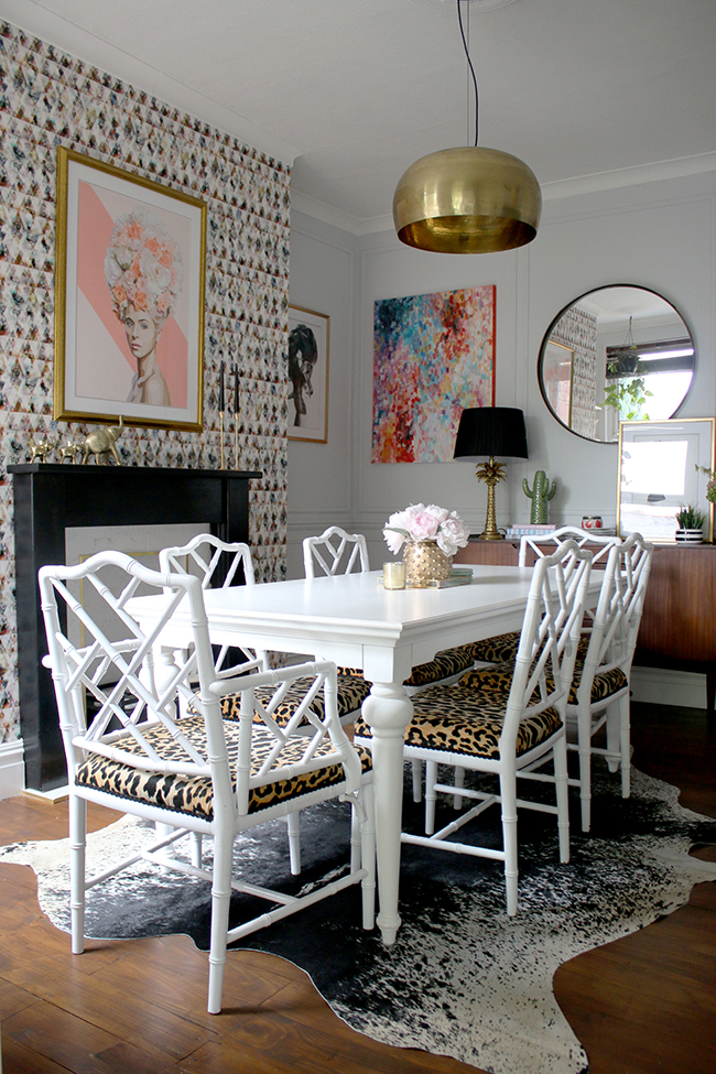 Animal Print Wallpaper For Bedrooms The Reveal Of My Eclectic Boho Glam Dining Room Swoon