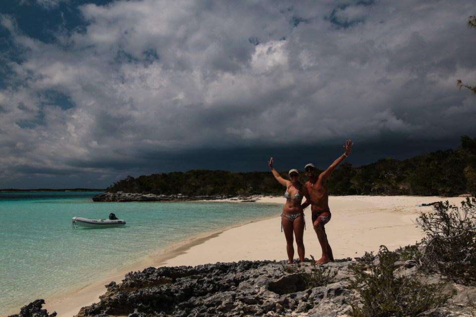 Vår siste strandopplevelse i Bahamas, helt alene på Lee Stocking Island.