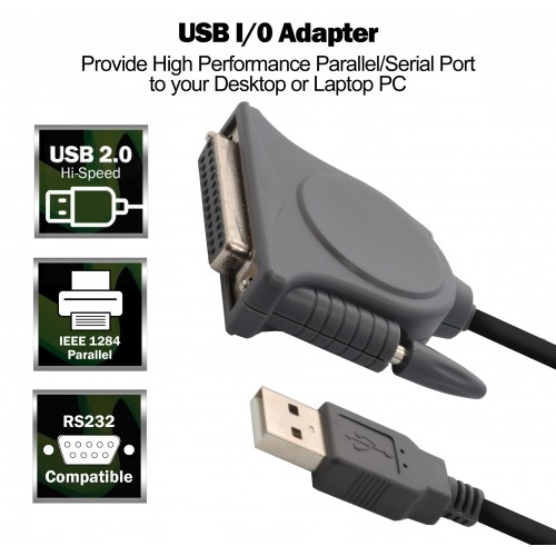 USB 20 to Parallel DB25 Port Adapter Cable