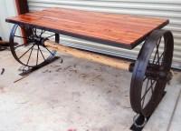 Cedar and Wagon Wheel Table - Sycamore Creek Creations