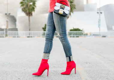 Sydne Style Shows The Best Red Booties Online In Steve