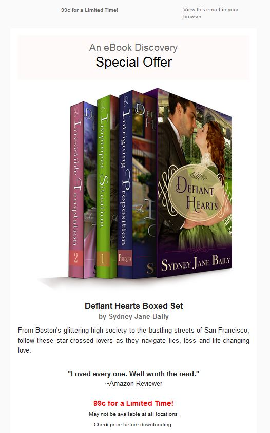 Ad for Defiant Hearts Boxed Set Sale