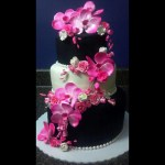 Black_and_White_with_Pink_Flower_Wedding_Cake_Sydneys_Sweets