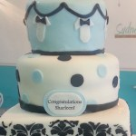 Damask and Onsie Baby Shower Cake