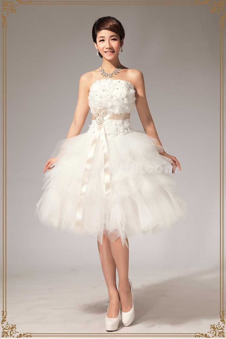 strapless short mini flora lace up tulle wedding dress lf mini wedding dress Strapless Short Mini Flora Lace up Tulle Wedding Dress LF