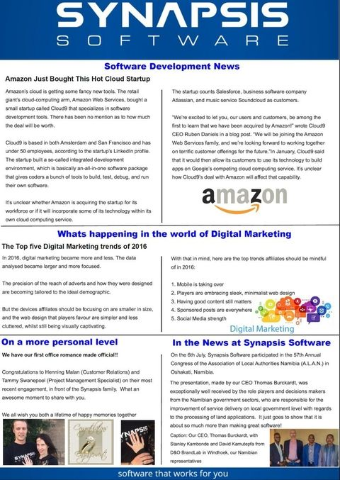 Synapsis Software Monthly Newsletter, August 2016 Newsletters