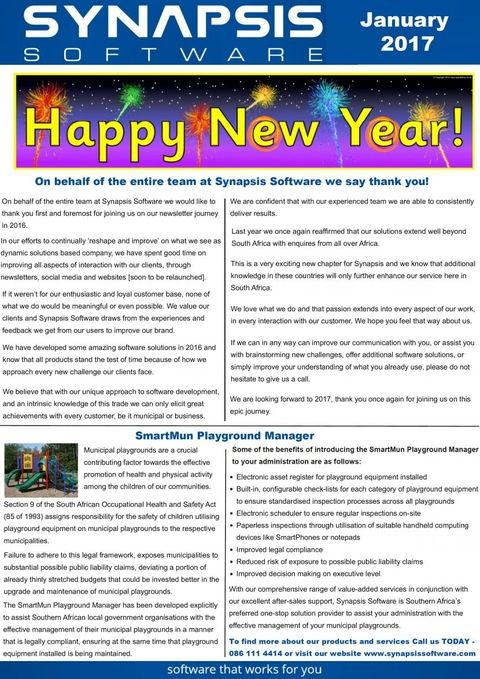 Synapsis Software Monthly Newsletter, January 2017 Newsletters