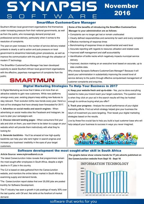 Synapsis Software Monthly Newsletter, November 2016 Newsletters