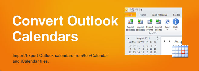 Convert Outlook Calendar and Contacts to Outlook vCard,vcf, vcs