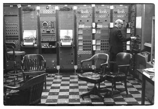 Milton Babbit in the electronic music studio