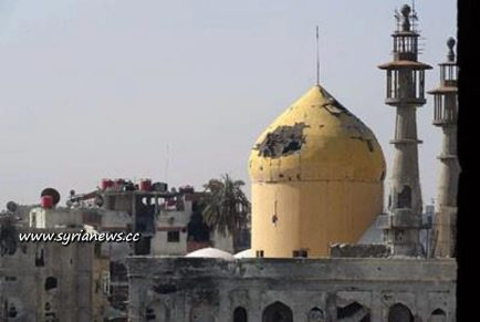Damage to the Sayyedeh Sukaina Shrine in Darayya