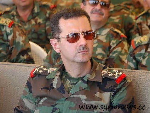 Syria's president Bashar Al-Assad in Uniform.