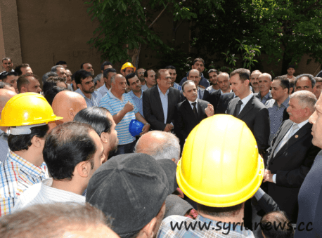 Syrian President Bashar Al-Assad Greets Workers on May Day