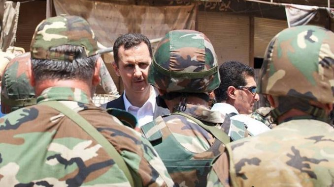 Syrian president Dr. Bashar Al Assad with an SAA unit
