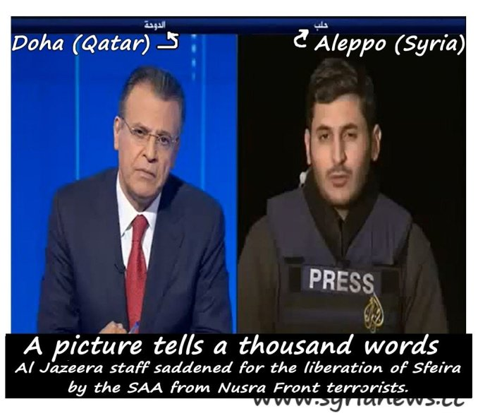 A picture tells a thousand words: Al Jazeera staff disappointed for the loss of Nusra Front terrorists in Al-Safirah