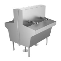 Wall Mounted Trough Sink Island Featuring the Dyson