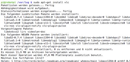 Raspi VLC install