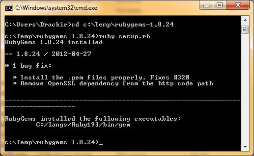 Ruby Gems Install Text
