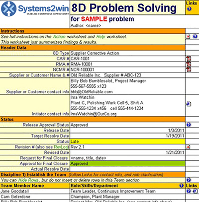 8D Report - 8D form - 8d template - problem report