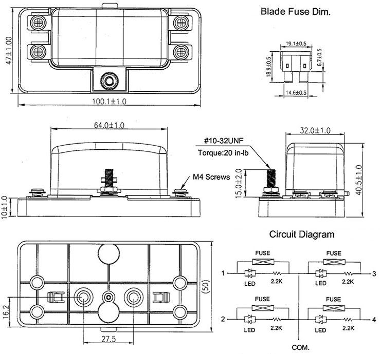12v 1 x 4 way blade fuse box holder