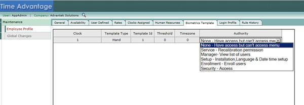 Biometric Template (Employee Management) - Time Advantage
