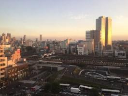 Blick über den Bahnhof Nakano - links hinten im Bild: Shinjuku