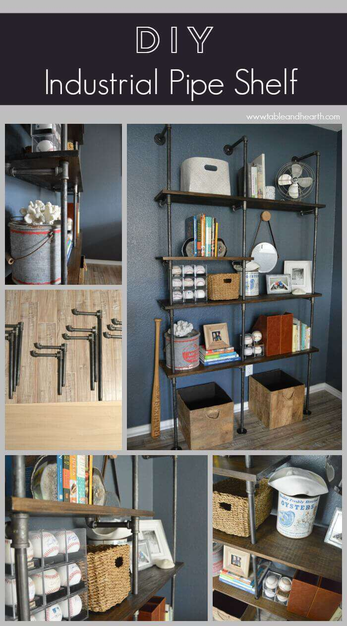 Diy industrial pipe shelves table and hearth for Diy industrial bookshelf
