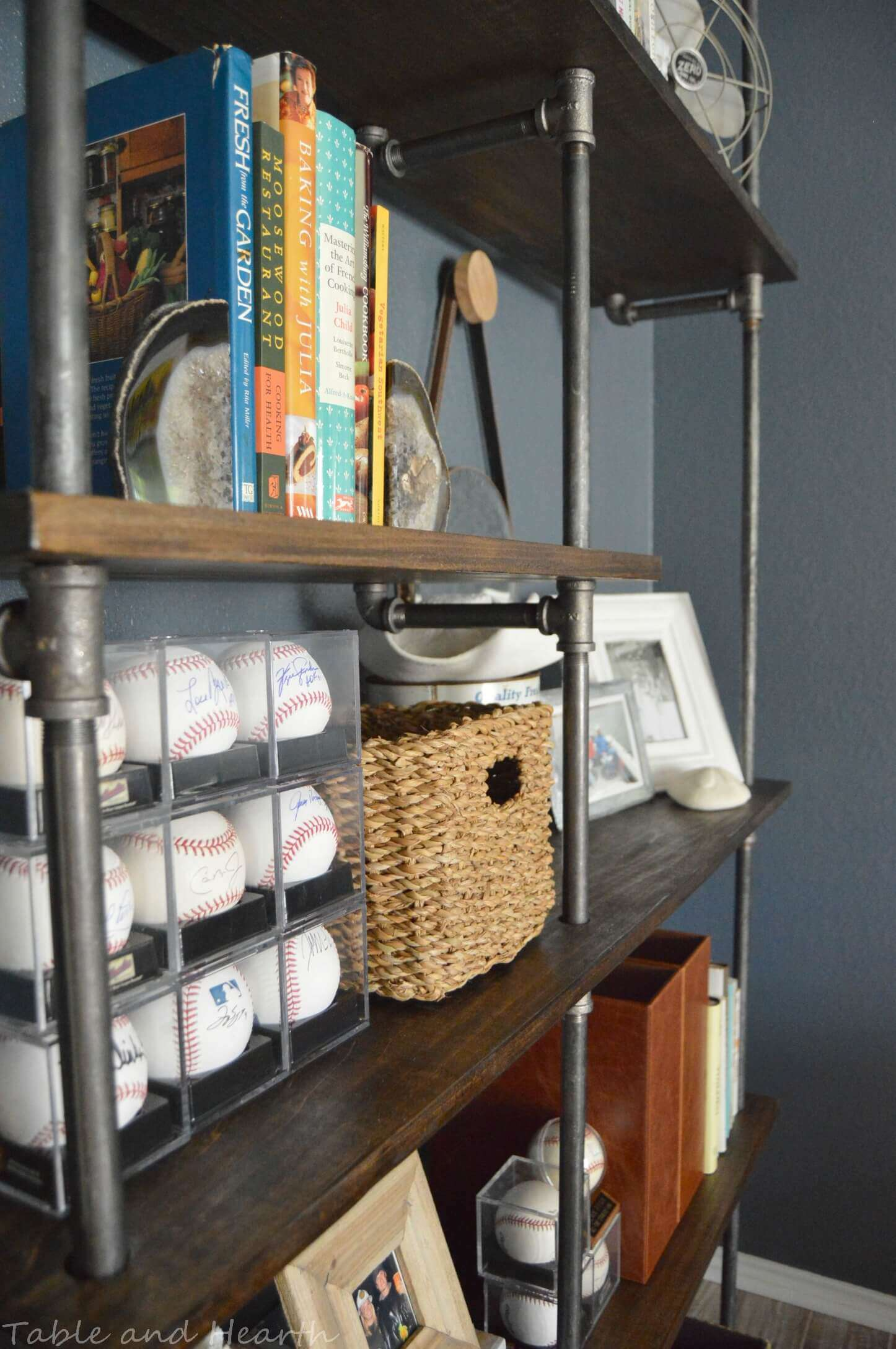 Diy industrial pipe shelves table and hearth for Diy industrial