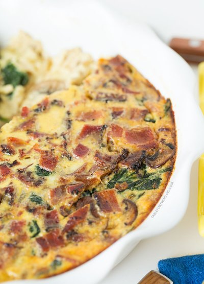 Crustless Bacon, Spinach, and Mushroom Quiche - Table for Two® by Julie Wampler