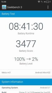 Meizu M3 Batterie et autonomie